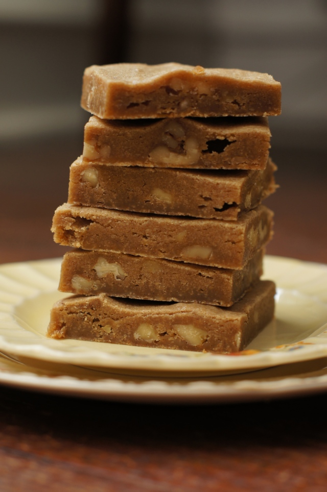 browned butter walnut blondies stack