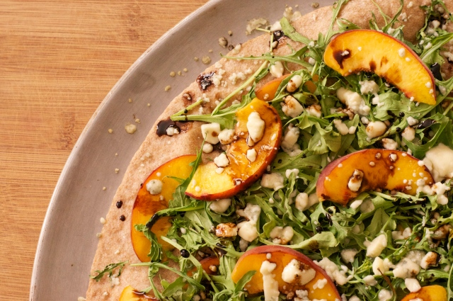 Peach, Arugula, & Gorgonzola Pizza